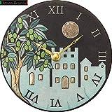 リズム時計工業(Rhythm) 掛け時計 白 φ16x3.5cm ザッカレラ Z955 イタリア製陶器枠 ルート限定モデル ZC955-004