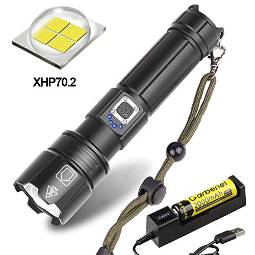 Super Bright Xhp70.2 Led Flashlight Zoom Tactical Flashlight 5 Modes Waterproof Handheld Torch Lamp with USB Cable and Battery