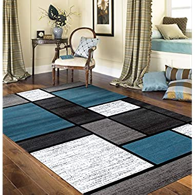Contemporary Modern Boxes Area Rug 5' 3  X 7' 3  Blue/Gray
