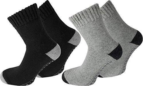 normani 4 Paar Angora-Wollsocken mit Schafwolle und rutschfestem ABS-Aufdruck Farbe Schwarz/Grau Größe 39/42
