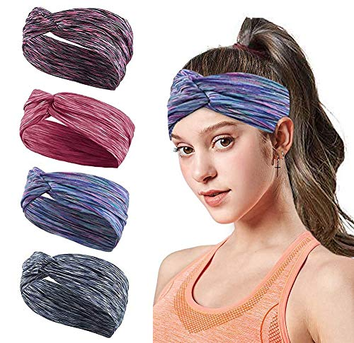 Headbands for Women Hair 4pcs Outdoor Sport Workout Striped Turban Yoga Bands Sweat Wicking Scarf Bandana Wrap Fitness Fashion Non Slip Elastic Knotted Vintage Hippie Bow Soft Athletic Wide Headband