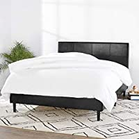 Amazon Basics Faux Leather Upholstered Platform Bed Frame with Wooden Slats