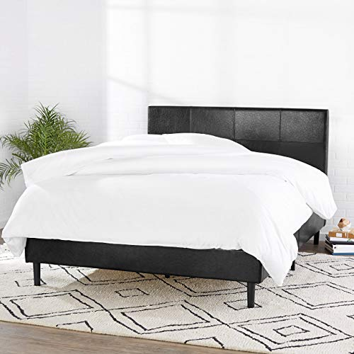 Amazon Basics Faux Leather Upholstered Platform Bed Frame with Wooden Slats Queen