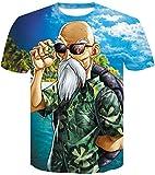 FLYCHEN Hombre Dragon Ball T-Shirt Colorful Impreso en 3D Creativo Camiseta Super Saiyan Goku para Hombre - Tortuga - XL