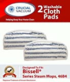 Think Crucial Replacement Pads Compatible with Bissell 46B4 Series, Striped Microfiber Pad Part Fits Steam & Sweep Hard Floor Cleaners, Compatible with Parts # 75F5, 2032200 & 203-2200 (2 Pack)