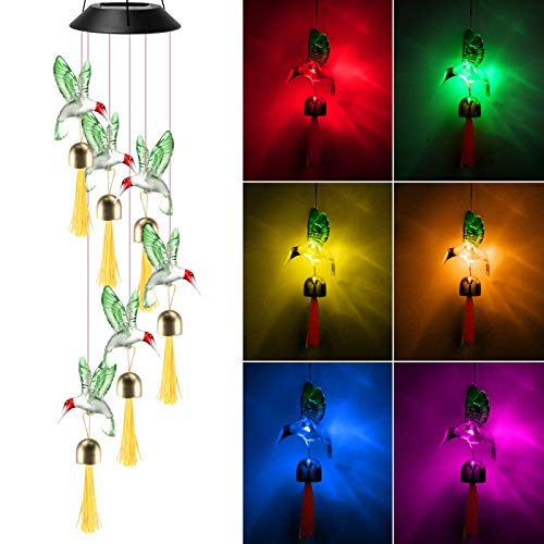 KNMY Solar Wind Chimes Lights with Bells, Solar Hummingbird Wind Chimes, Birds Color Changing Led Mobile Wind Chime for Outdoor Garden Classical Decor Yard Ornaments Hanging Gifts for Kids Sister Mom