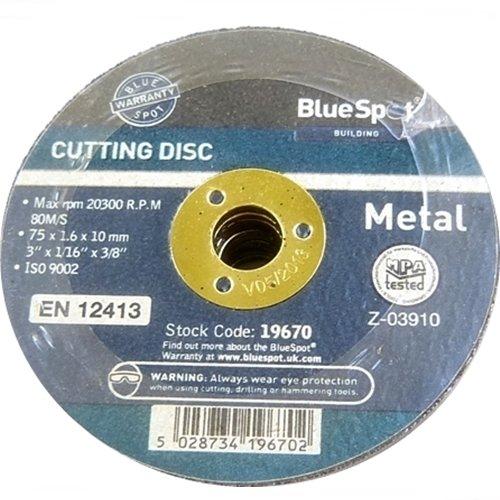 Blue Spot 19670 - Disco da taglio in metallo, 75 mm, colore: Nero