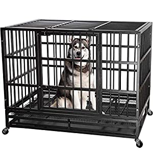 """ITORI 42"""" Heavy Duty Metal Dog Cage Kennel Crate and Playpen for Training Large Dog Indoor Outdoor with Double Doors & Locks Design Included Lockable Wheels Removable Tray(42in 48in) (42 in, Black)"""