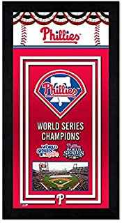 Philadelphia Phillies Miniframe World Series Championship Banner 6.75x13 Framed with Glass and Ready to Hang