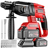 Rotary Hammer Drill, WAKYME SDS-Plus 1/2 inch 21V Cordless Demolition Hammer with 1400RPM, Variable Speed, 3-in-1 Mode Brushless Impact Drill with Safety Clutch, 13 Pieces Set, Drill Bits, Chisels