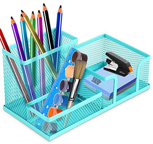 CYJZHEU Lapiceros para Escritorio, Organizador de Malla Metálica Portalápices Escritorio Multifuncional Organizador de Escritorio con 3 Compartimentos para el Aula de Oficina en Casa (Azul)
