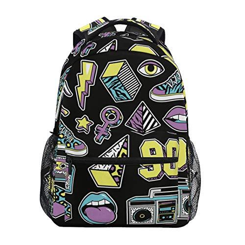 Schwarz Dinge Radio Kunst Schulter Student Rucksacks Bookbags Kinderrucksack Büchertasche Rucksäcke für Teen Mädchen Jungs