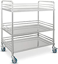 Medical trolley 3-Storey with Universal Brake Wheels, Stainless Steel Cosmetic Trolley I Utility Trolley and Metal Frame I Transport Trolley for Professional Use