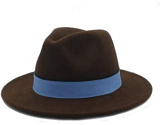 Men Women Winter Fedora Hat with Blue Cloth Belt Pop Wide Brim Church Fascinator Hat Casual Wild Jazz Hat Size 56-58CM` TuanTuan (Color : Coffee, Size : 56-58)