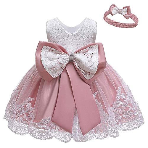 Cichic Baby Mädchen Kleid Taufkleid Spitze Prinzessin Kleid Tutu Kleid Mädchen Festlich Hochzeit Geburtstag Partykleid Blumenmädchenkleid Festzug Babybekleidung (0-3 Monate, Rosa Kleid)
