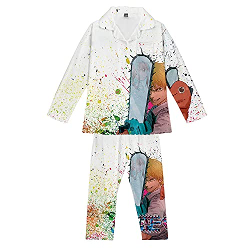 Pijamas Unisex Hombre de Motosierra Anime Manga Larga Conjunto de Pijamas Cool Hombres Mujeres 3D Cómodo Suave Homewear