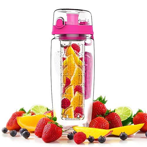 VickyVan Fruit Infuser Water Bottle, 32OZ Sports Bottle BPA-Free Leak Proof Full Length Infusion Rod Flip Top Lid Dual Anti-Slip Grips(Pink)