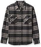 BRIXTON Bowery L/S X Flannel Camisa Abotonada, Negro/carbón, S para Hombre