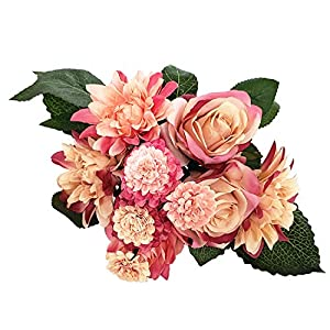 BECOR Fake Flowers Bouquet Artificial Silk Rose Carnation Plant with Leaves for Wedding Home Party Table Decor, 10 Flowers Per Bunch, 8 Stems Per Pack, Red & Orange