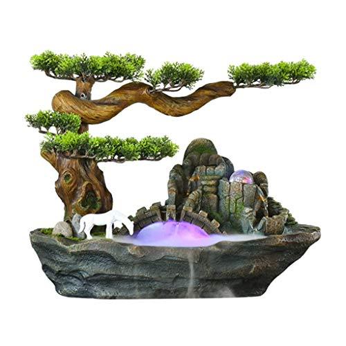 Fuente de Mesa Cascada de meditación Zen fuente de interior cubierta 2-Tier Fuente de agua y resina de pino decorativa del árbol fuente de escritorio de sobremesa decorativa con bomba sumergible Fuent