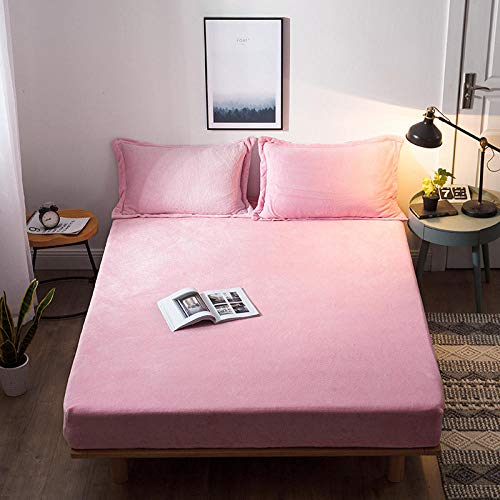 JRDTYS Non-Iron Bedding Fitted Sheet with All Around Elastics Brushed Microfiber BreathablePure color thick warm bed sheet-Pink_200cm×220cm
