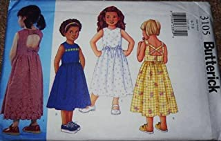 Butterick 3105 Girls Summer Sleeveless Backless Cutout Dresses - Sizes 2, 3, 4, 5