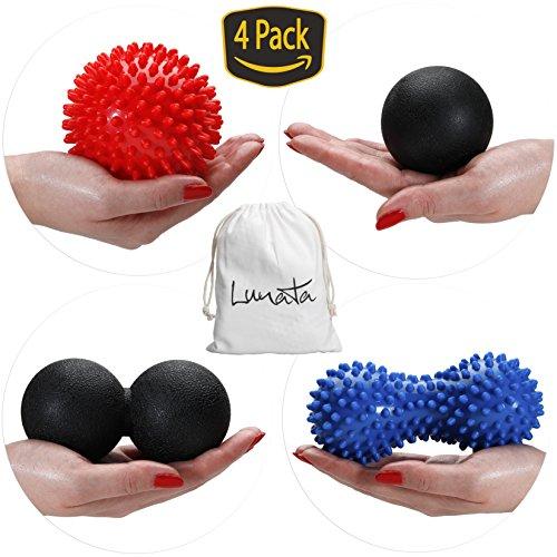 Lunata (Upgrade 2019) 4 Set Bolas de Masaje, Bola de Masaje con picos, Bola de Masaje forma Cacahuete lisa y con Picos ayudan a aliviar la Tensión y el Estrés