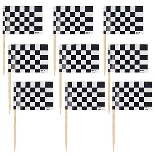 YeahiBaby Zielflagge Rennen Flagge Kuchen Topper Cupcake Pick Racing Flagge Partei Cupcake Toppers Zahnstocher Dekorative 48 Stücke