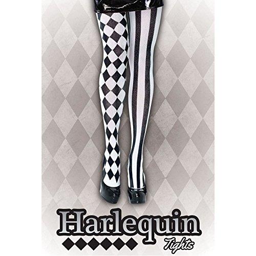 Harlequin-Strumpfhose, Strümpfe, Schwarz/Weiß, Beine Kostüm Clown Jester Harley Quinn