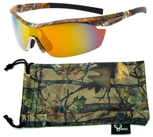 Hornz Brown Forest Camouflage Polarized Sunglasses for Men Wrap Around Sport Frame & Free Matching Microfiber Pouch – Brown Camo Frame – Orange Lens