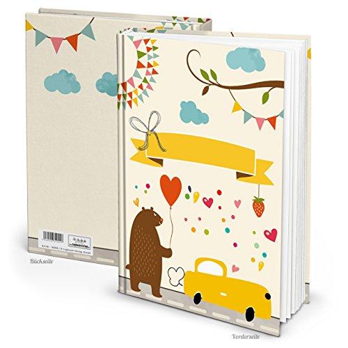 XXL notitieboek teddybeer beer met auto DIN A4 kinderboek babyboek om in te schrijven verhalen verhalen dagboek babydagboek kinderdagboek 136 blanco pagina's