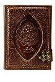 Vintage Ringbuch Kalender aus Leder   Lebensbaum   unsere Handarbeit   Farbe Braun   Größe – 18,5 x 14 x 3,7 cm   für A6 Einlegeblätter   6-Fach Lochung   Austauschbar   Terminplaner