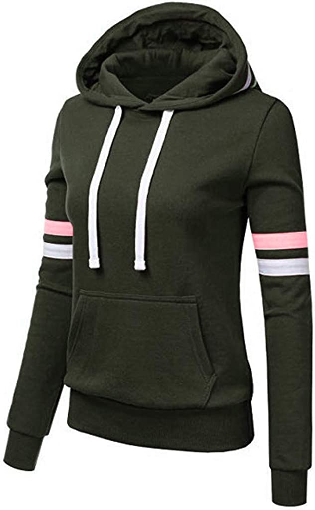 5665 Womens Y2k Pullover Hoodies Solid Color Oversized Pullovers Sweatshirt Goth Striped Long Sleeve Activewear with Pockets