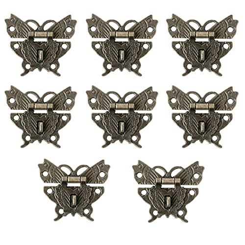 Zhioudz 8 Piezas Retro Mariposa Shaped Latch,Aleación de Zinc Pestillo Antiguo,Cerradura Para Cajas de Joyería,Vintage Catch Lock, Hasp Pad Caja de Bloqueo,Para Caja de joyería de Madera