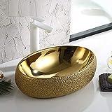 InArt Lavabo Sobre Encimera de Baño Lavabo Porcelana forma ovalada de cerámica para baño Lavabo de Cerámica, Fregadero de sobre Encimera 60 x 40 x 15 CM (Color dorado)