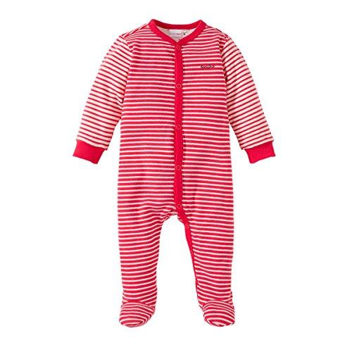 Bornino Basics Schlafoverall - Baby-Pyjama Geringelt - Overall aus Reiner Baumwolle mit Patches an Ellenbogen & Paspelierung an Druckknopfleiste