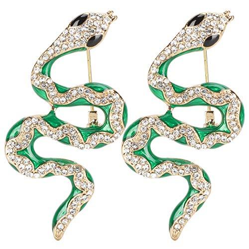 Jeanoko Broche de aleación brillante con diamantes de imitación de cristal, 2 unidades, estilo vintage, broche de serpiente, decoración de fiesta, bolsa de insignia para regalo de mujer