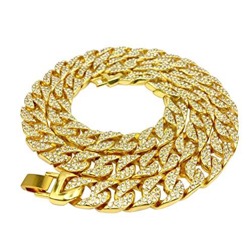 Holibanna Gargantilha de corrente de elos cubanos com strass de ouro para mulheres e homens, colar de festa