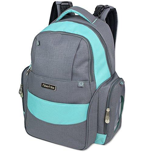 Fastfinder 3 Piece Set Diaper Bag Backpack for Moms & Dads with Changing Pad and Wipes Pocket Diaper Bag Backpack (Grey/Aqua)