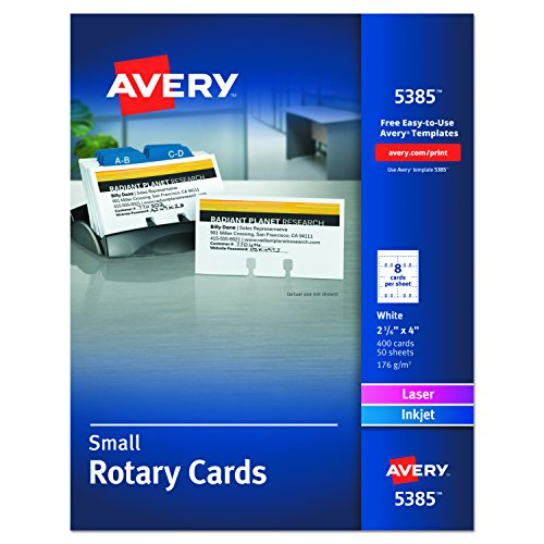 Avery 5385 Laser Rotary Cards, 2 1/6in. x 4in, Box of 400 Cards, White