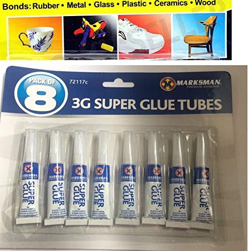 Super Glue Adhesivo para plástico, metal, goma, vidrio y cerámica, pack de 8, 3g, uso único