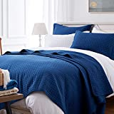 SunStyle Home Quilt Set QueenNavy Blue Square Lightweight Bedspread Soft Reversible Coverlet for All Season 3pcs Square Quilted Quilted Bedding Sets (1 Quilt 2 Pillow Shams)(90'x96')