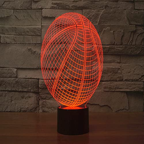 Yyhmkb Bebes Quitamiedos Lampara Enchufe Altavoces Lampara Ambiente Baloncesto Colorido 3D Luz Led Táctil Ilusión Luz Creativa Lámpara De Mesa Colorida Luz Nocturna