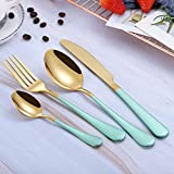 WHWH Cubertería,Steak Knife and Fork Spoon Gold Plated + Painted Housewife Table Cutlery for Home/School/Lunch Box-Gold + Green Four-Piece