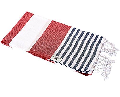 Carenesse Toalla de baño Tommy de 100 x 180 cm, toalla de mano Hammam, 100% algodón, con aspecto marino: rayas rojas, blancas y azules, extra anchas y absorbentes, toalla de sauna con tamaño pequeño