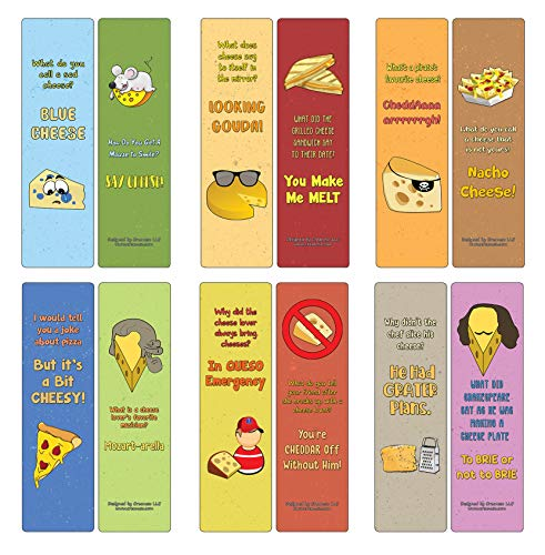 Creanoso Cheese Jokes Bookmarks (12-Pack) – Stocking Stuffers Gift for Cheese Lovers, Adult, Teens, Children – Party Favors Supplies – Book Reading Rewards Gifts – Great Giveaways