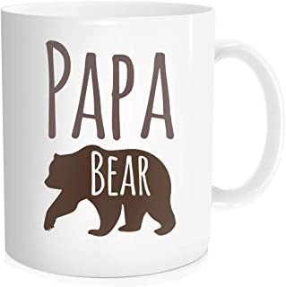 Funny Coffee Mug Tea Cup Inspirational Quote For Men - Papa Bear - Fathers Day Birthday Christmas Thanksgiving Day New Year Gift for Dad Him from Son Daughter, White Fine Bone Ceramic 11 oz