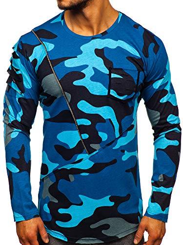 BOLF Hombre Camiseta de Manga Larga Básica Diseño Camuflaje Escote Redondo Estilo Urbano Athletic 1090 Azul Oscuro M [1A1]