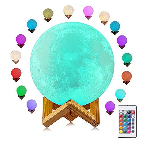Lámpara de luna, 16 colores de luz de luna con mando a distancia y control táctil, impresión 3D, luz nocturna LED, brillo ajustable USB recargable luz lunar para regalo creativo, 5,9 pulgadas