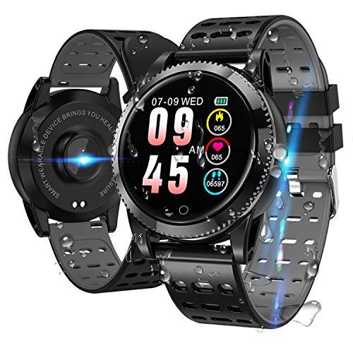 LIDOFIGO Smartwatch Smart Armband blutdruck Uhr mit herzfrequenz wasserdicht Fitness Tracker aktivitätstracker Bluetooth Sports Watch Schlafmonitor schrittzähler smart Armband für iOS Android Schwarz